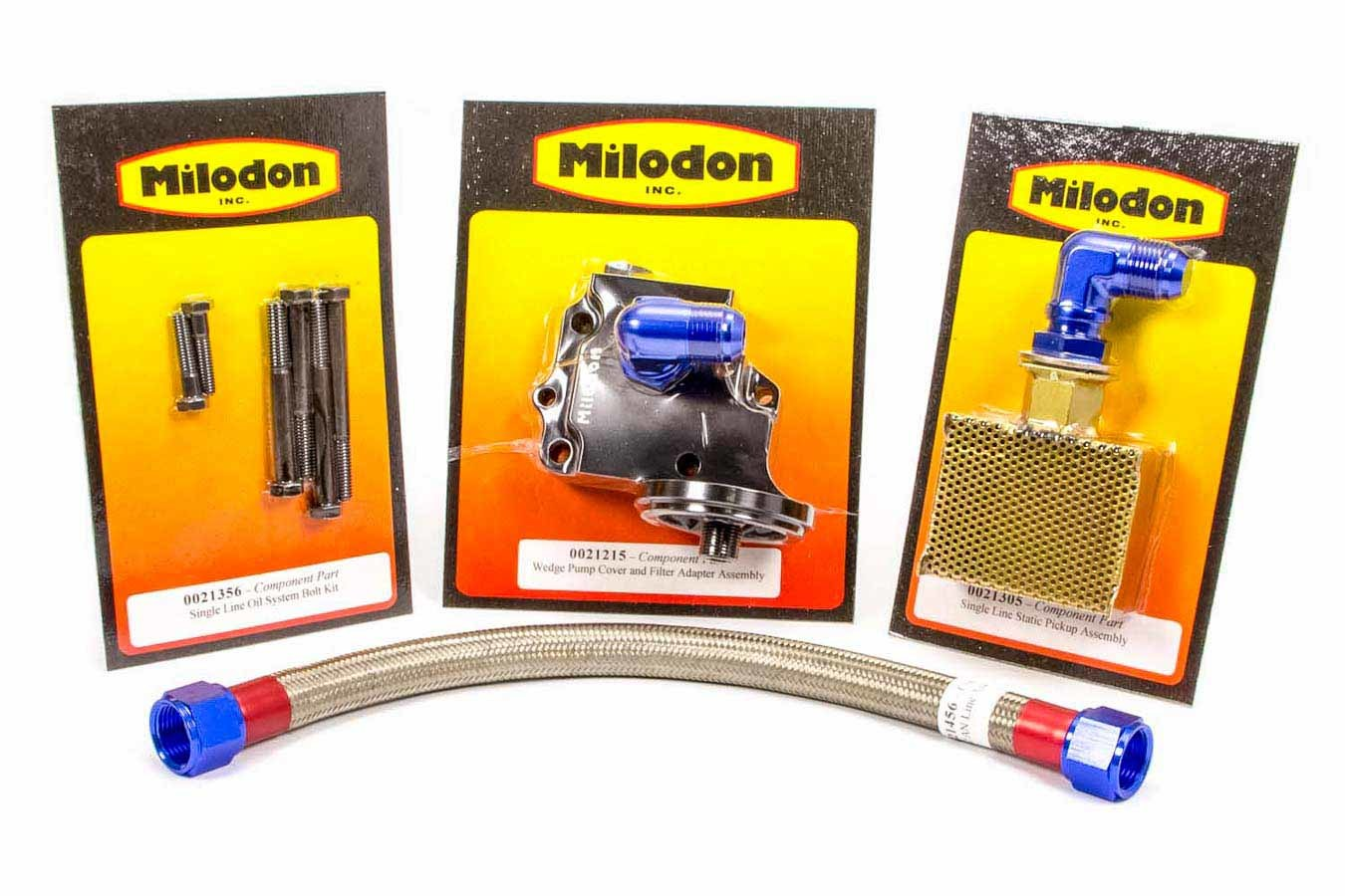 Milodon 21010 External Oil System, Single Braided Stainless Line / Static Pickup / Bolts / Fittings / O-Rings Included, Mopar B / RB-Series, Kit