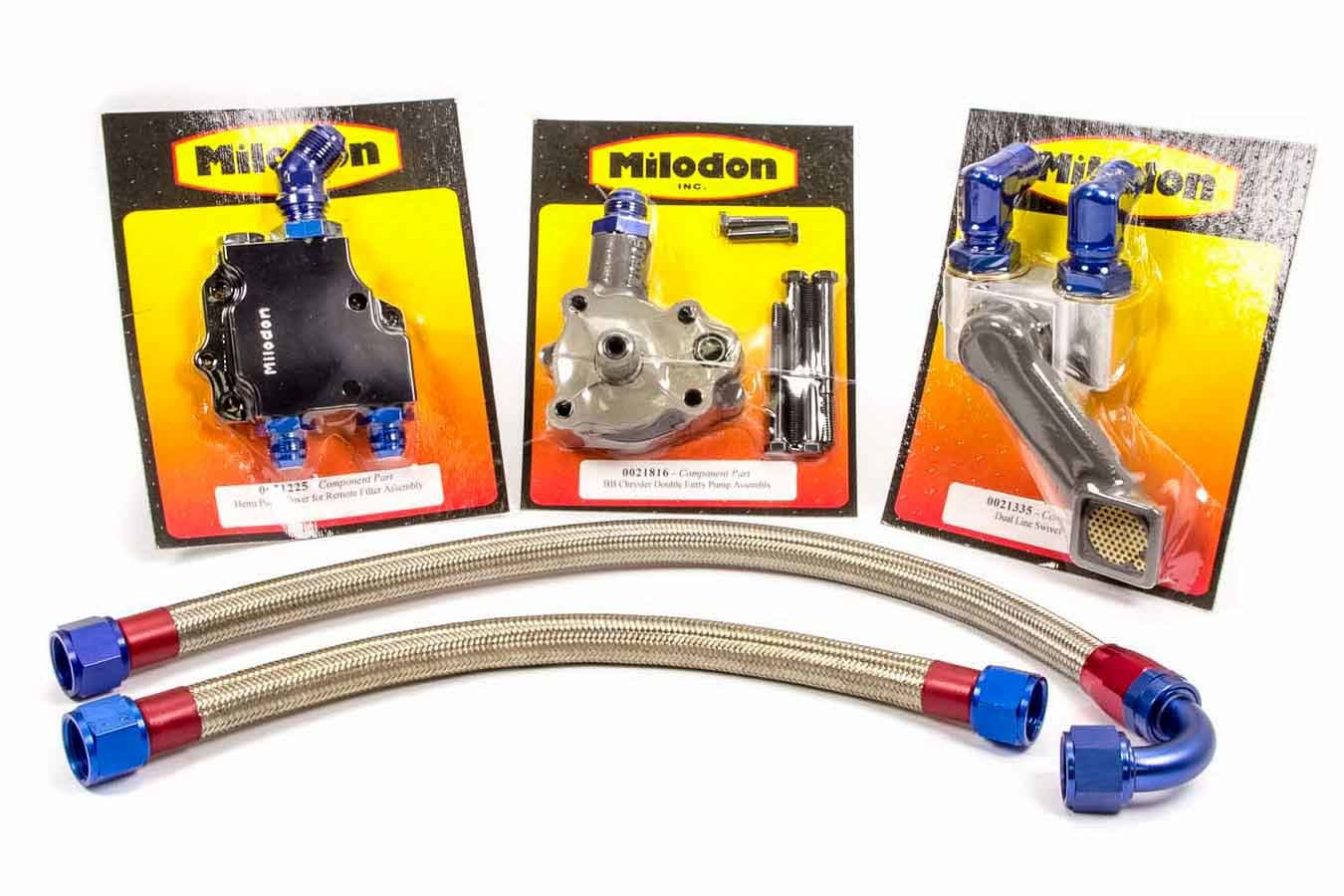 Milodon 21190 External Oil System, Dual Braided Stainless Lines / Swivel Pickup / Bolts / Fittings / O-Rings / Oil Pump / Remote Filter Included, Mopar 426 Hemi, Kit