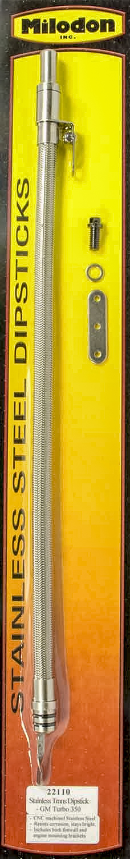 Milodon 22110 Transmission Dipstick, Transmission Mount, Flexible, Braided Stainless, Aluminum, Natural, TH350, Each