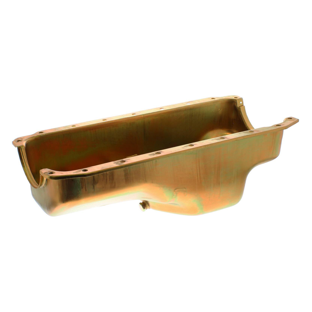 Milodon 30755 Engine Oil Pan, Center Sump, 4 qt, 7-1/4 in Deep, Steel, Gold Zinc, Small Block Mopar, Each