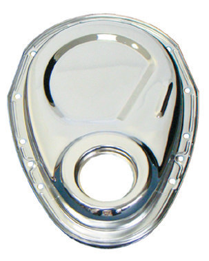 Milodon 65500 Timing Cover, 1 Piece, Steel, Chrome, Small Block Chevy, Each