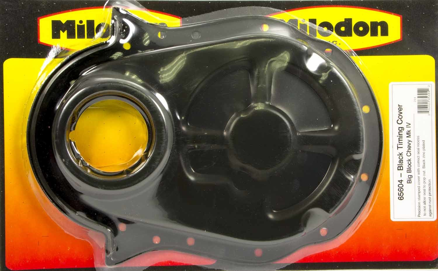 Milodon 65604 Timing Cover, 1 Piece, Steel, Black Oxide, Big Block Chevy, Each