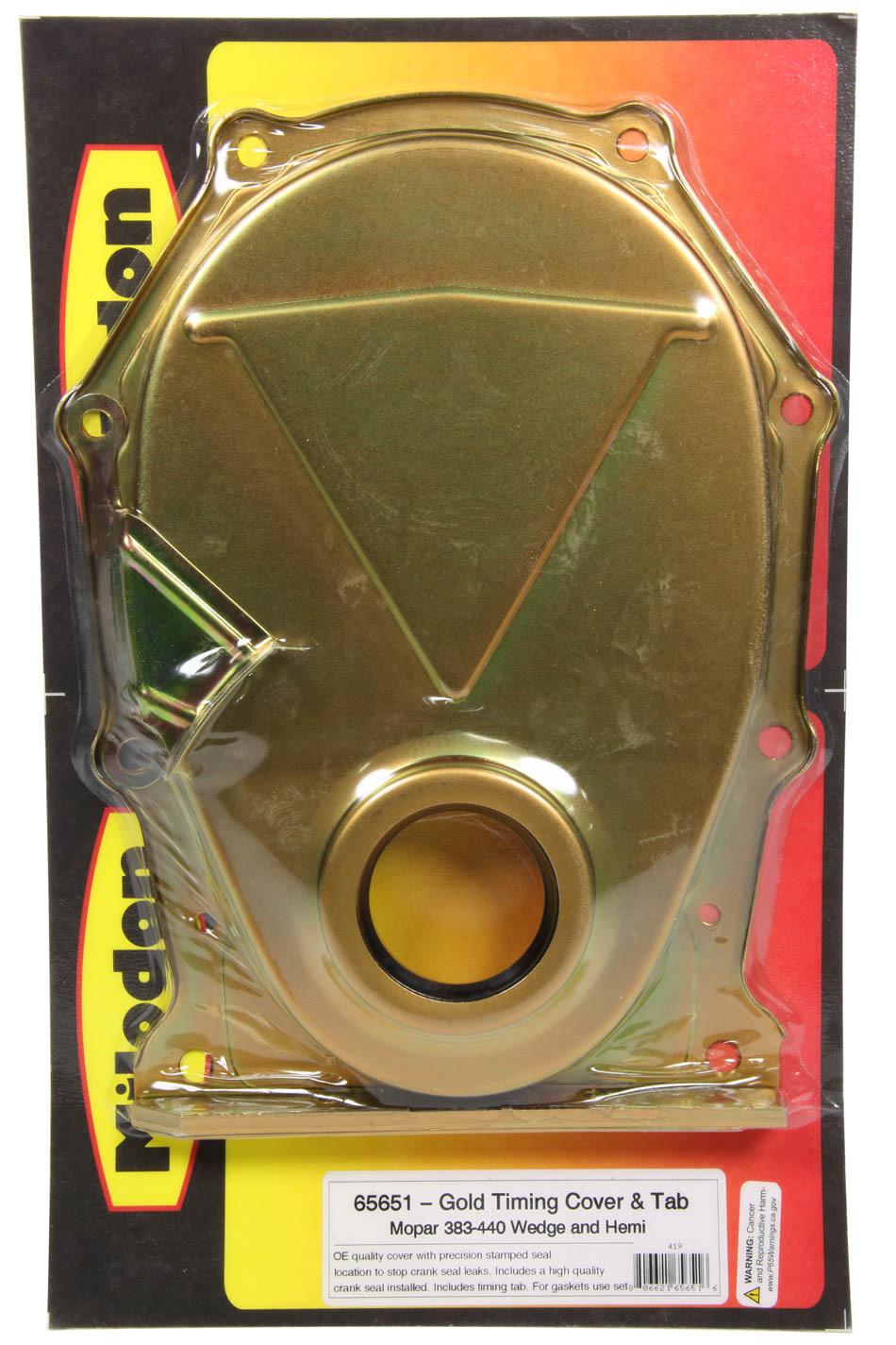 Milodon 65651 Timing Cover, 1 Piece, Seal / Timing Tab Included, Steel, Cadmium, Mopar B / RB-Series / Hemi, Kit