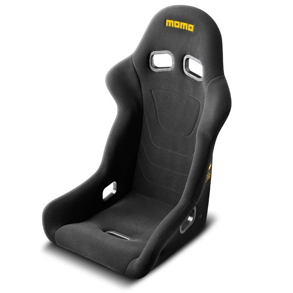 Momo 1070BLK Seat, Start, Side Bolsters, Harness Openings, Fiberglass Composite, Fabric, Black, Each
