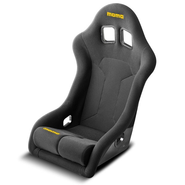 Momo 1071BLK Seat, Super Cup, Side Bolsters, Harness Openings, Fiberglass Composite, Fabric, Black, Each