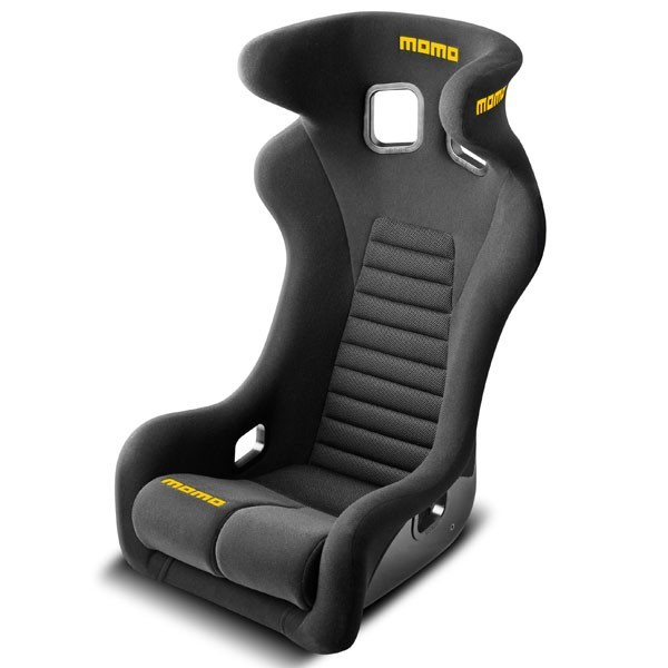 Momo 1074BLK Seat, Daytona XL, Side Bolsters, Harness Openings, Fiberglass Composite, Fabric, Black, Each