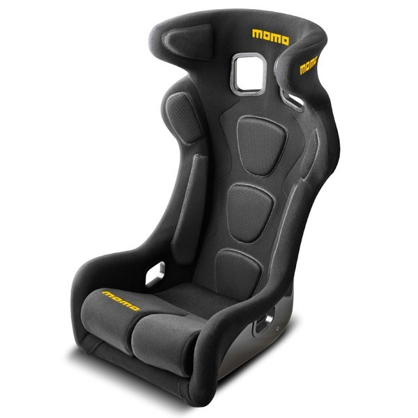 Momo 1076BLK Seat, Daytona EVO XL, Side Bolsters, Harness Openings, Fiberglass Composite, Fabric, Black, Each