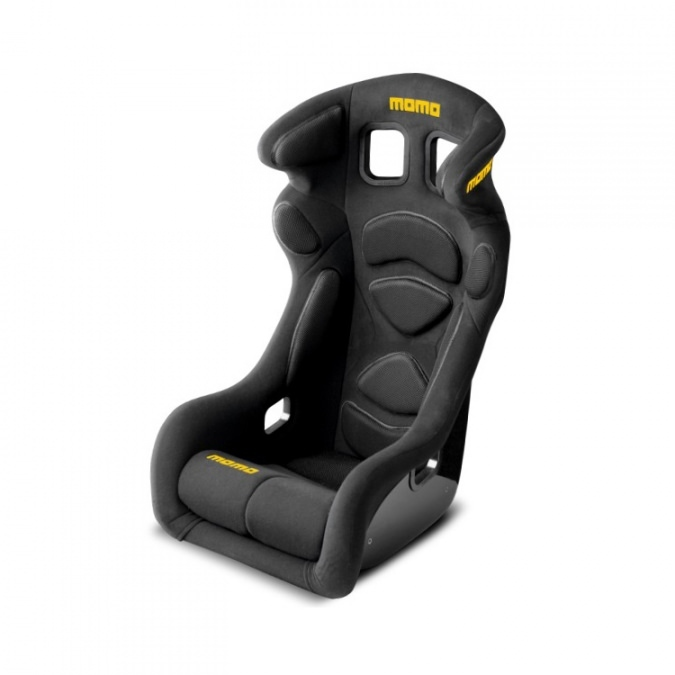 Momo 1077BLK Seat, Lesmo One, Side Bolsters, Harness Openings, Fiberglass Composite, Fabric, Black, Each
