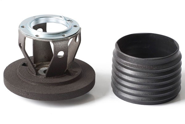 Momo 155 Steering Wheel Adapter, Momo Wheel to OE Column, Hardware Included, Aluminum, Matte Black Trim, BMW, Each