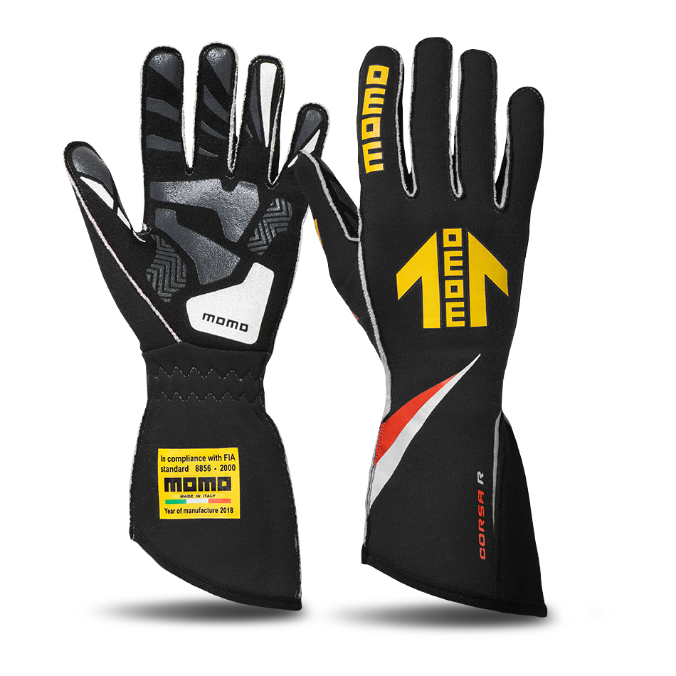 Momo GUCORSABLK11 Gloves, Corsa R, Driving, FIA 8856/2000, Single Layer, Nomex / Silicone, Yellow Momo Arrow Logo, Black, Large, Pair
