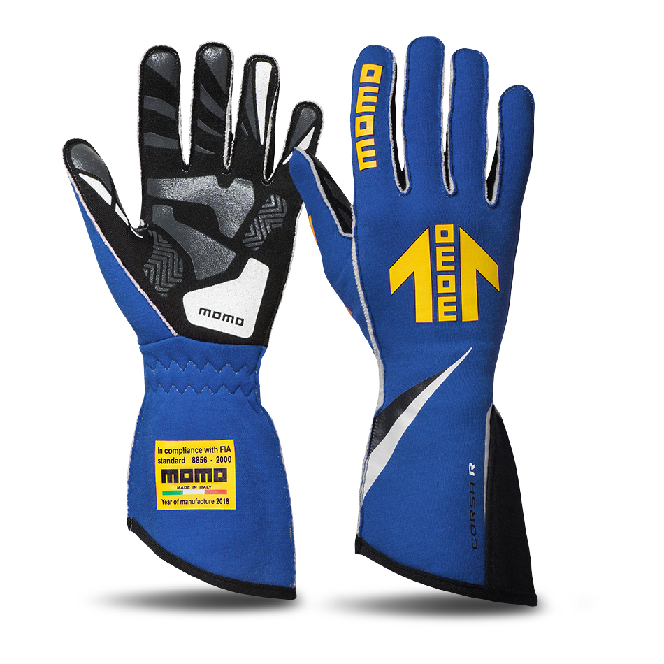 Momo GUCORSABLU12 Gloves, Corsa R, Driving, FIA 8856/2000, Single Layer, Nomex/Silicone, Yellow Momo Arrow Logo, Blue, X-Large, Pair