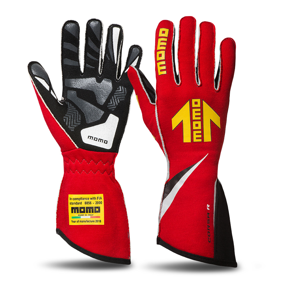 Momo GUCORSARED10 Gloves, Corsa R, Driving, FIA 8856/2000, Single Layer, Nomex/Silicone, Yellow Momo Arrow Logo, Red, Medium, Pair