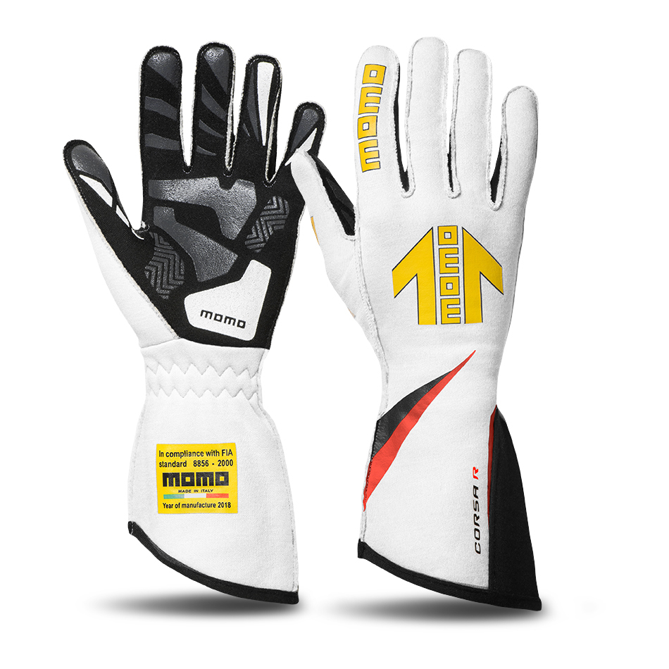Momo GUCORSAWHT11 Gloves, Corsa R, Driving, FIA 8856/2000, Single Layer, Nomex / Silicone, Yellow Momo Arrow Logo, White, Large, Pair