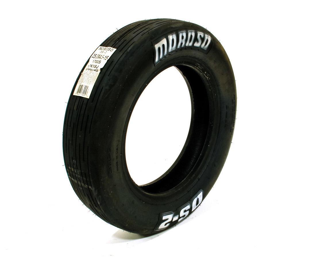 Moroso 17025 Tire, Drag Front, DS2, 25.0 x 4.5-15, Bias Ply, 4 Ply Nylon, White Lettering, Each