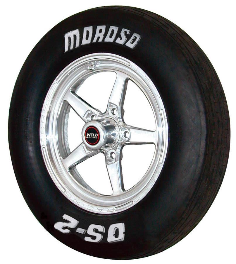 Moroso 17040 Tire, Drag Front, DS2, 24.0 x 5.0-15, Bias-Ply, 4 Ply Nylon, White Lettering, Each