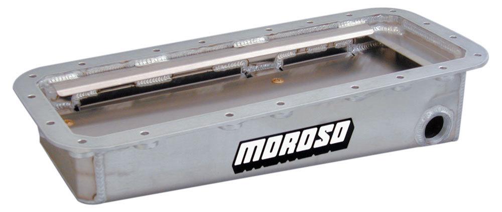 Moroso 20045 Engine Oil Pan, Drag Race, Full Sump, 5-1/4 in Deep, External Pump, Windage Tray, Aluminum, Natural, Mopar 426 Hemi, Each