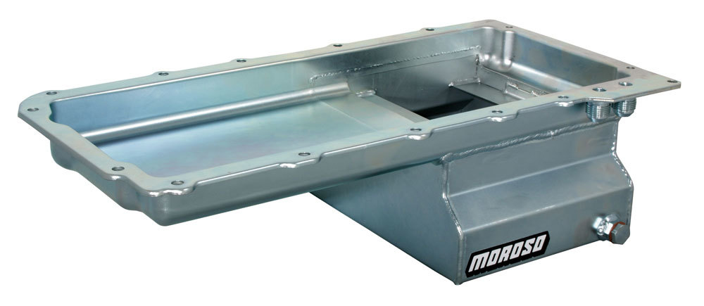 Moroso 20140 Engine Oil Pan, Street / Strip, Rear Sump, 8 qt, 10-3/4 in Deep, Steel, Zinc Oxide, GM LS-Series, Each