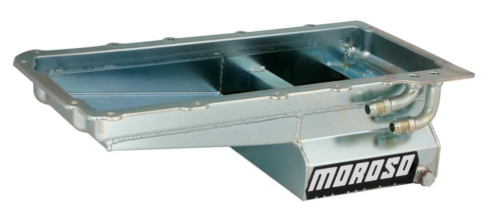 Moroso 20141 Engine Oil Pan, Street / Strip, Rear Sump, 7 qt, 6 in Deep, Trap Door Baffles, Steel, Zinc Oxide, GM LS-Series, Each