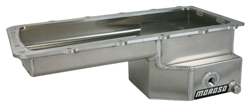 Moroso 20572 Engine Oil Pan, Street / Strip, Rear Sump, 8 qt, 6.625 in Deep, Baffled, Aluminum, Natural, Ford Coyote, Each