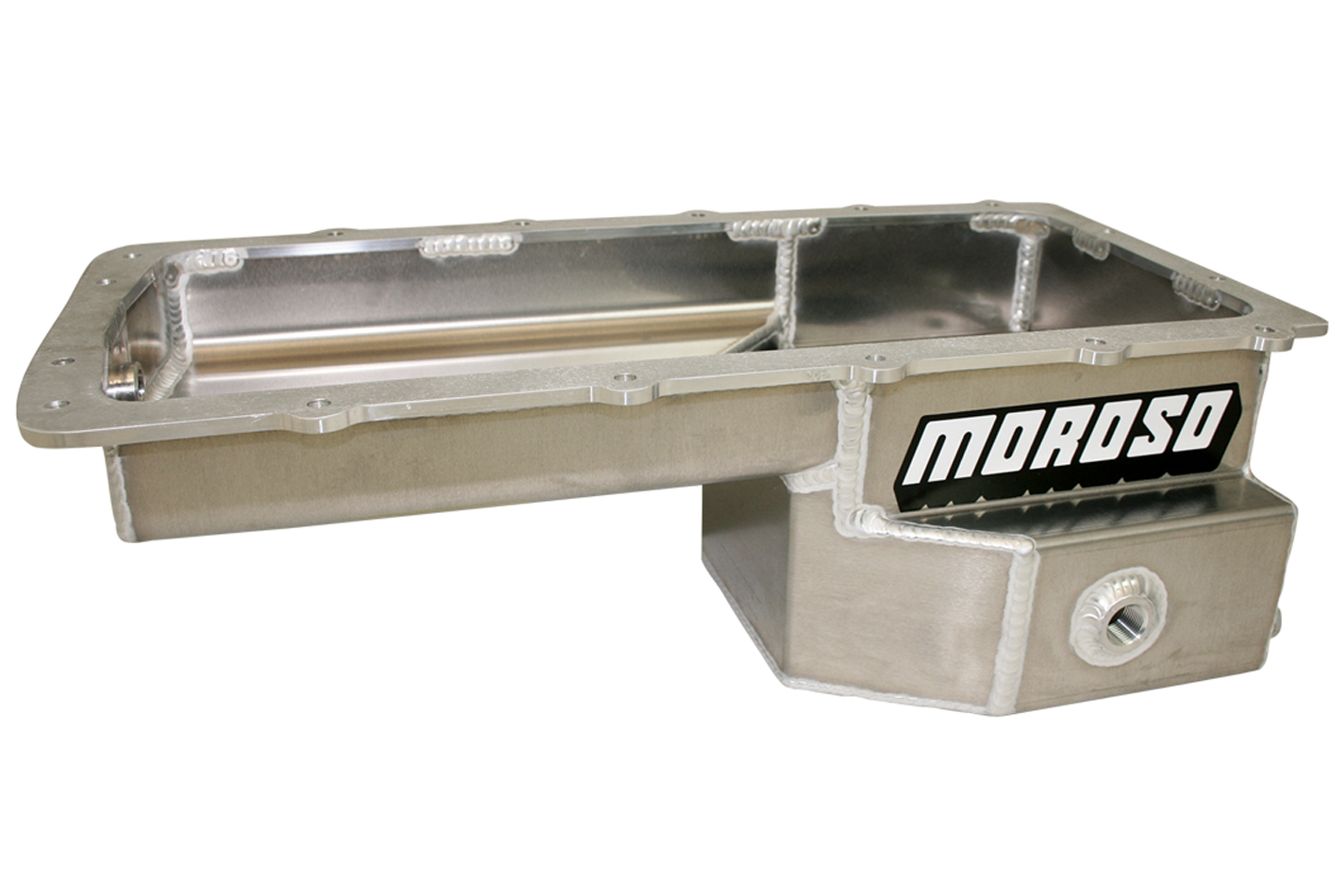 Moroso 20574 Engine Oil Pan, Drag Race, Rear Sump, 9 qt, 3-7/8 in Deep, Aluminum, Natural, Ford Coyote, Ford Mustang 1994-2018, Each