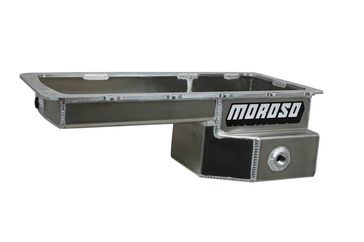Moroso 20576 Engine Oil Pan, Road Race, Rear Sump, 7.5 qt, 6.625 in Deep, Baffled, Aluminum, Natural, Ford Coyote, Ford Mustang 1979-93, Each