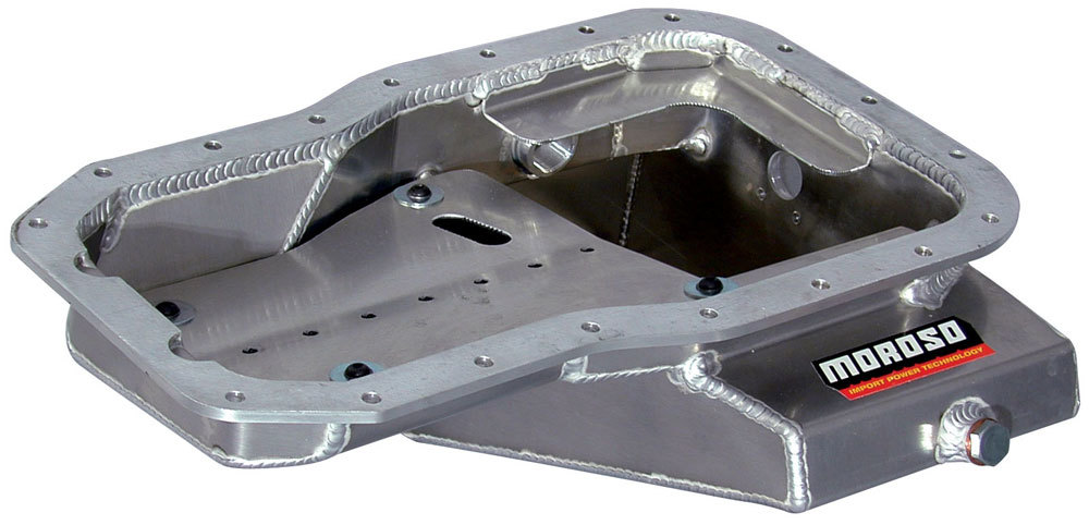 Moroso 20935 Engine Oil Pan, Road Race, Rear Sump, 6 qt, 7.500 in Deep, Baffled, Aluminum, Natural, Toyota 4-Cylinder, Toyota MR2 1991-95, Each