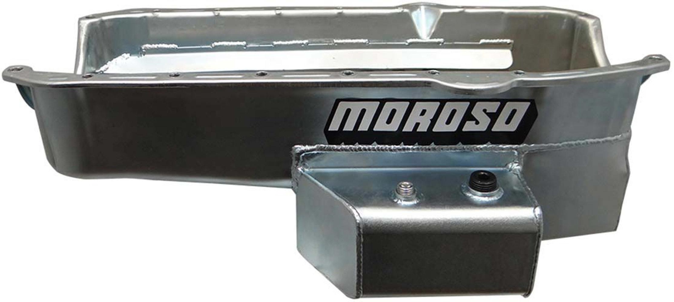 Moroso 21816 Engine Oil Pan, Street / Strip, Passenger Side Sump, 7 qt, 7 in Deep, Baffled, Steel, Zinc Oxide, Small Block Chevy, Each