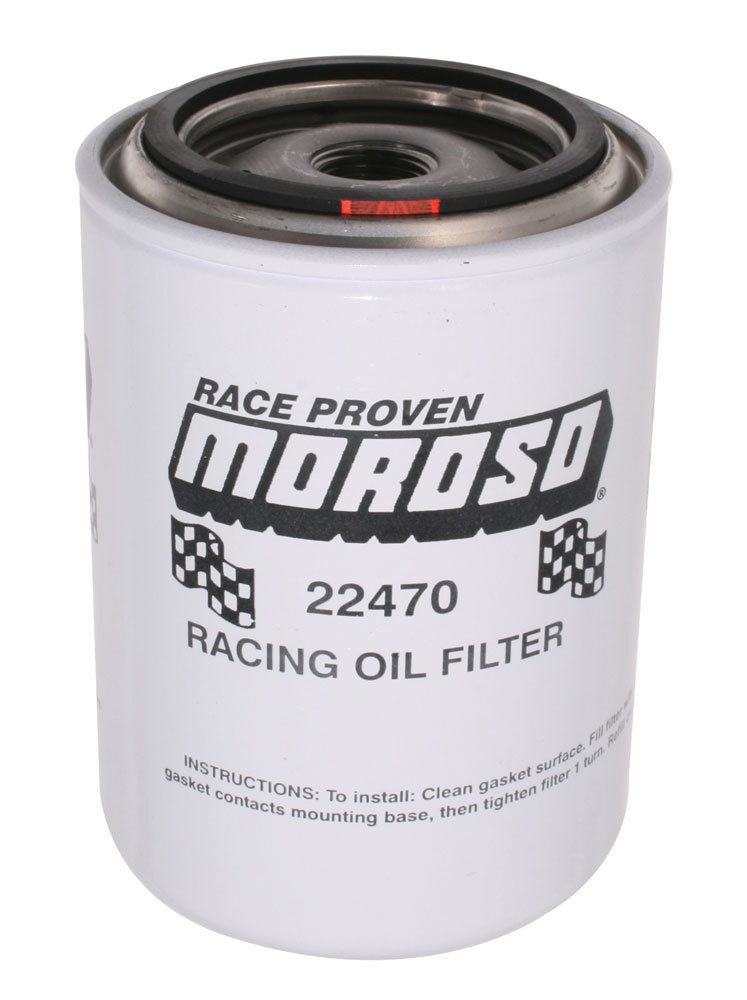 Moroso 22470 Oil Filter, Canister, Screw-On, 5-1/4 in Tall, 3/4 in-16 Thread, Steel, White, Various Applications, Each