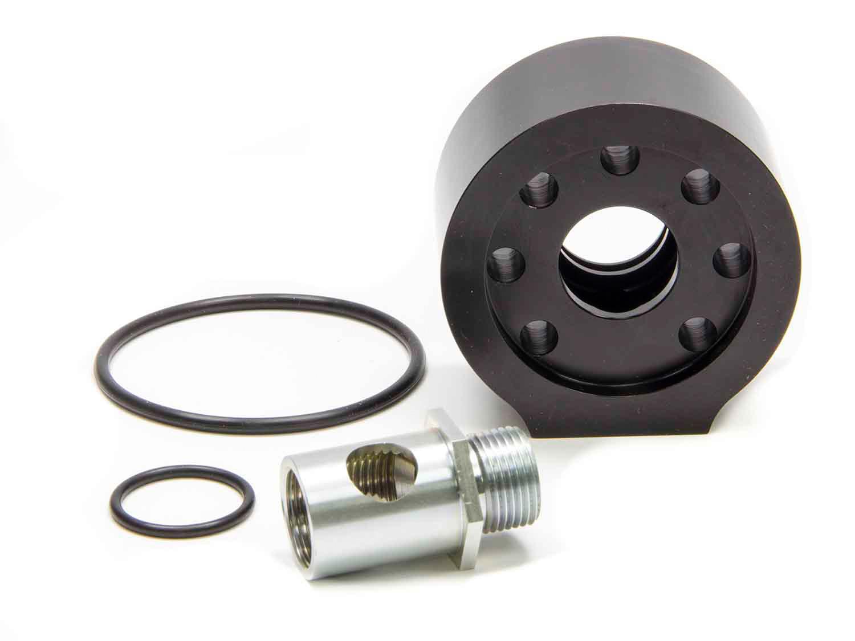 Moroso 23676 Oil Filter Adapter, Accumulator, Bolt-On, 13/16-16 in Center Thread, 10 AN Female Port, Aluminum, Black Anodized, Chevy V8, Kit