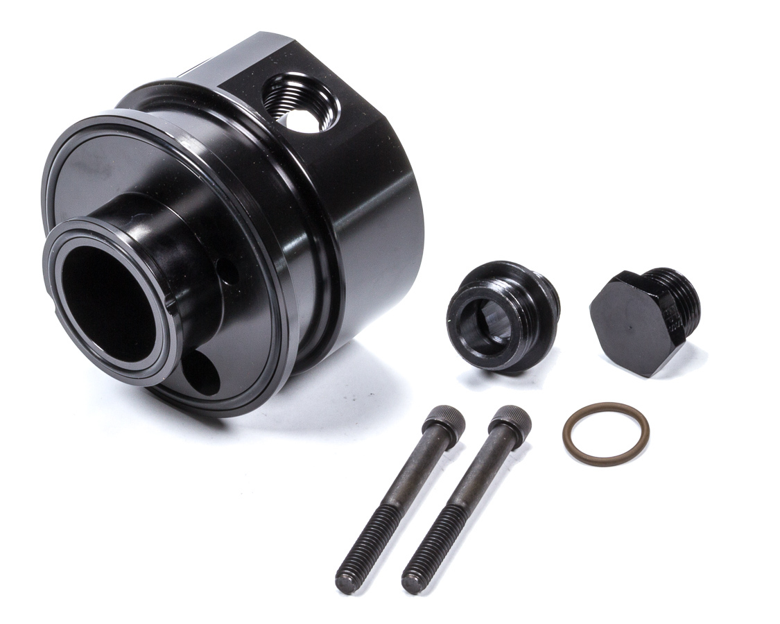 Moroso 23701 Oil Cooler Adapter, Sandwich, 13/16-16 in Center Thread, 10 AN Female Inlet, 10 AN Female Outlet, Aluminum, Black Anodized, Each