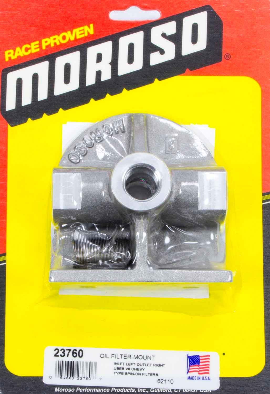 Moroso 23760 Oil Filter Mount, 1/2 in NPT Female Ports, Aluminum, Natural, Chevy Style Filter, Each