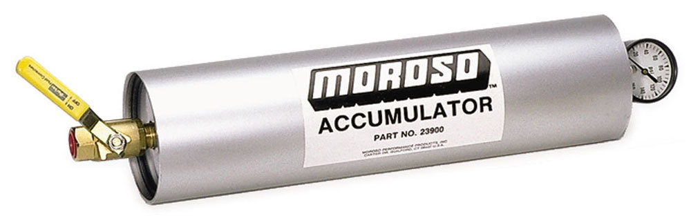 Moroso 23900 Oil Accumulator, 3 qt Capacity, 20-1/8 x 4-1/4 in, 1/2 in NPT Fitting / Shutoff, Aluminum, Natural, Each