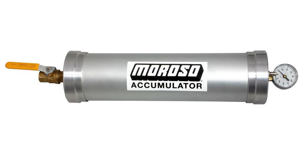 Moroso 23902 Oil Accumulator, Heavy Duty, 3 qt Capacity, 23 x 4-3/4 in, 1/2 in NPT Fitting / Shutoff, Aluminum, Natural, Each