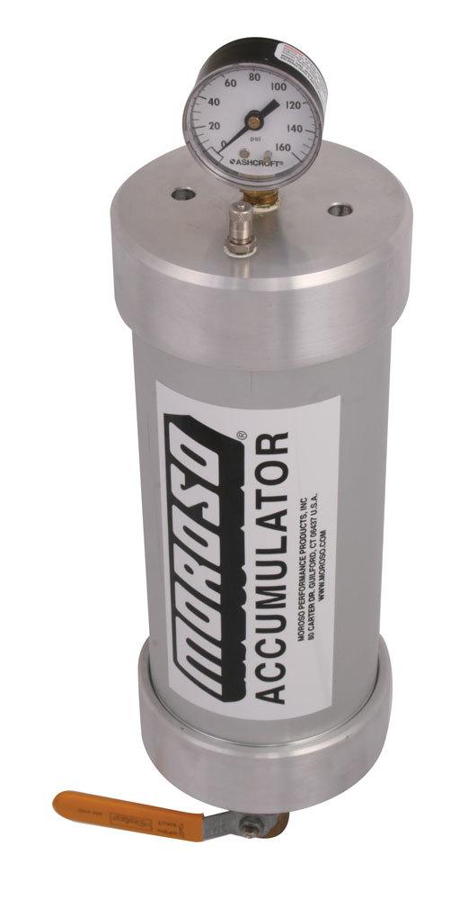 Moroso 23903 Oil Accumulator, Heavy Duty, 1.5 qt Capacity, 12 x 4-1/4 in, 1/2 in NPT Fitting / Shutoff, Aluminum, Natural, Each
