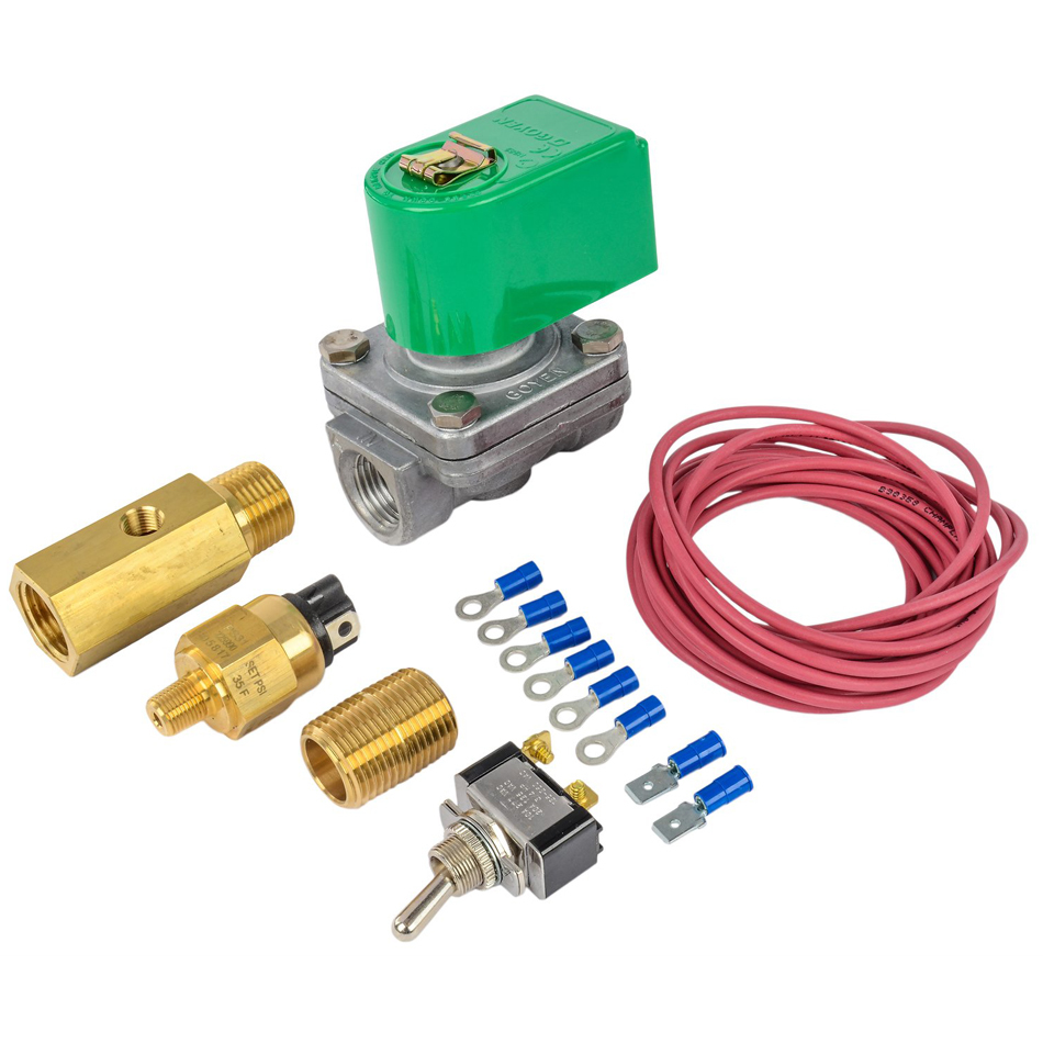Moroso 23908 Shut Off Valve, Oil Accumulator, 12V Pressure Control, 35-40 psi, 1/2 in NPT Female Ports, Fittings / Switch / Wiring, Kit