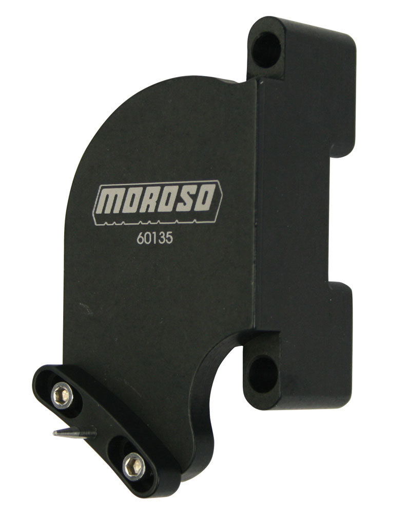 Moroso 60135 Timing Pointer, Stainless Hardware, Billet Aluminum, Black Anodized, 7 in OD Balancer, Big Block Chevy, Each