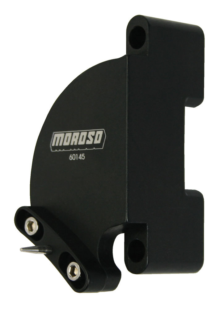 Moroso 60145 Timing Pointer, Stainless Hardware, Billet Aluminum, Black Anodized, 8 in OD Balancer, Big Block Chevy, Each