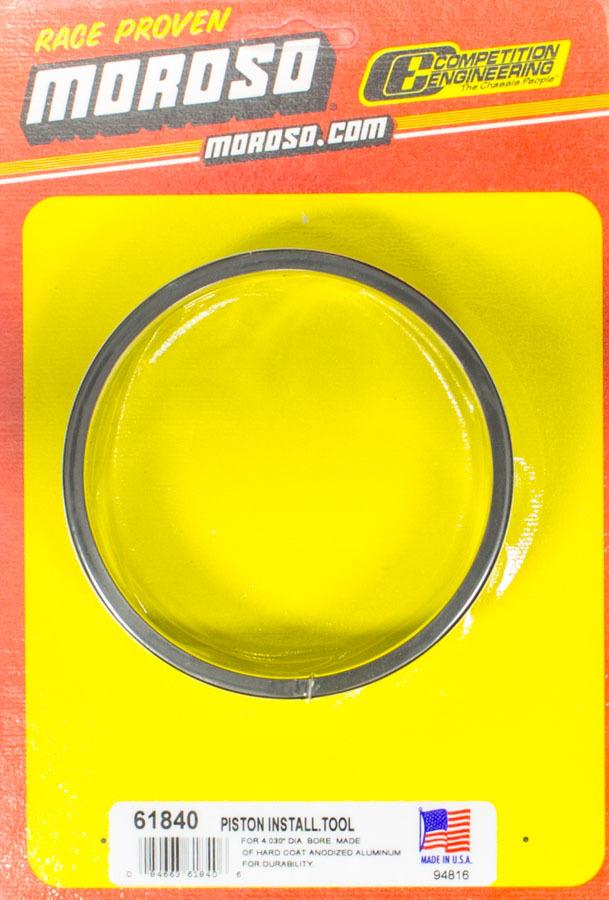 Moroso 61840 Piston Ring Compressor, 4.030 in Bore, Tapered, Billet Aluminum, Black Anodized, Each