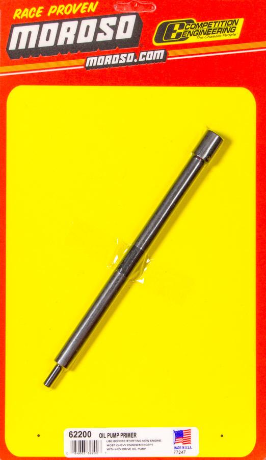 Moroso 62200 Oil Pump Primer, 3/8 in Drill Chuck, Steel, Black Oxide, Chevy V8, Each