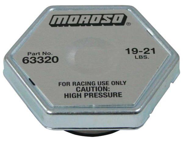 Moroso 63320 Radiator Cap, Racing, 19-21 lb, Hexagon, Fit Standard Size Radiator Necks, Each