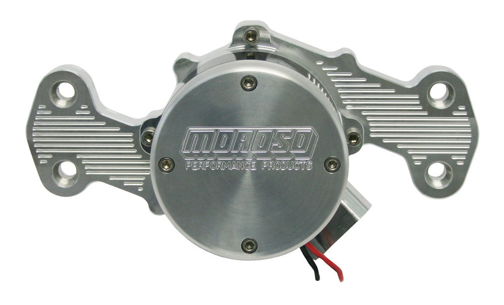 Moroso 63557 Water Pump, Electric, High Flow, Light Weight, 16 AN Female Inlet Port, 6.218 in Height, Billet Aluminum, Clear Anodized, Small Block Chevy, Kit