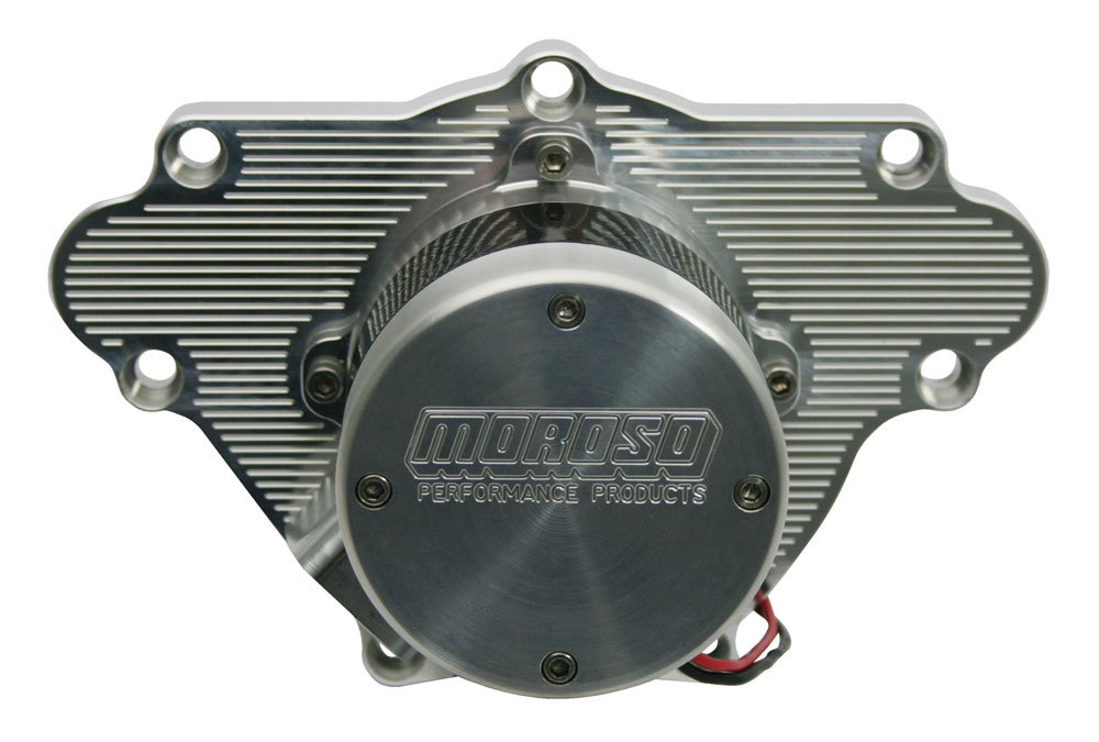 Moroso 63565 Water Pump, Electric, High Flow, Light Weight, 16 AN Female Inlet Port, 4.600 in Height, Billet Aluminum, Clear Anodized, Small Block Mopar, Kit