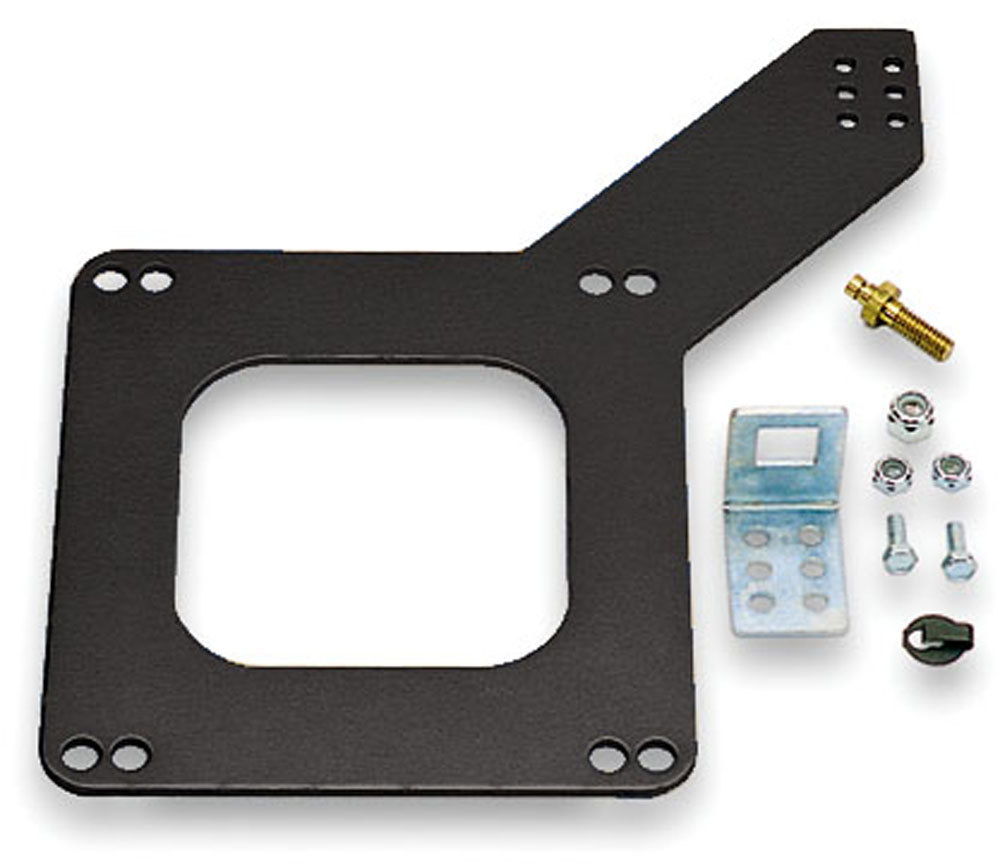 Moroso 65050 Throttle Cable Bracket, 1/8 in Thick, Aluminum, Black Anodize, Holley Carburetors, GM Late Model, Kit