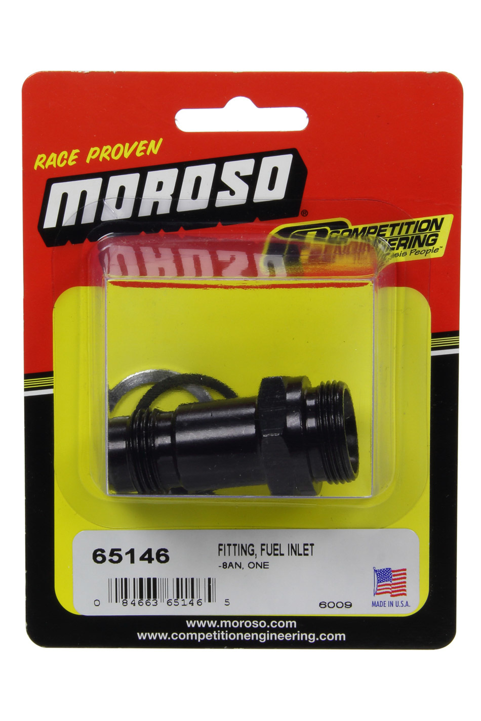 Moroso 65146 Fitting, Adapter, Fuel Inlet, 8 AN Male to 7/8-20 UNF Male, Aluminum, Black Anodize, Each
