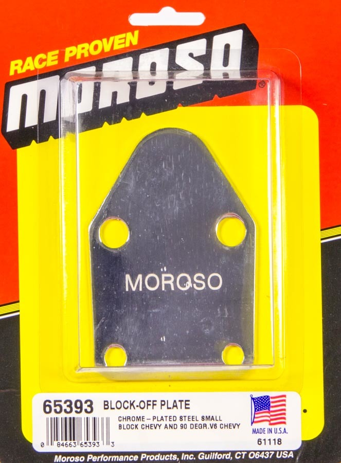Moroso 65393 Fuel Pump Blockoff, Steel, Chrome, Small Block Chevy, Each