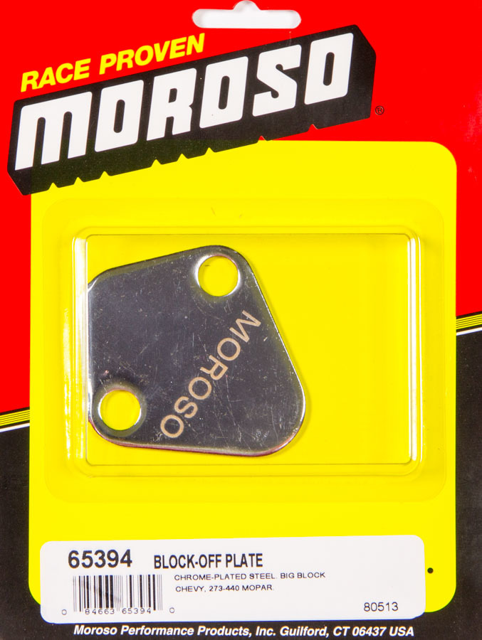 Moroso 65394 Fuel Pump Blockoff, Steel, Chrome, Big Block Chevy / Mopar V8 / Ford V8, Each