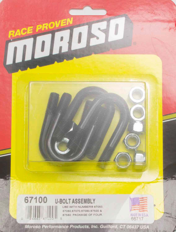 Moroso 67100 Rocker Stud Girdle U-Bolt, 3/8-24 in Thread, Set of 4