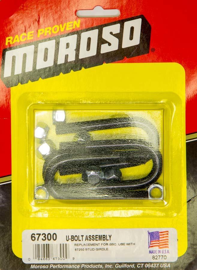 Moroso 67300 Rocker Stud Girdle U-Bolt, 7/16-20 in Thread, Set of 4
