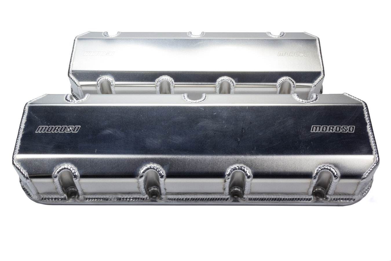 Moroso 68489 Valve Cover, Short, 3 in Height, Billet Rail, Moroso Logo, Fabricated Aluminum, Natural, Big Block Chevy, Pair