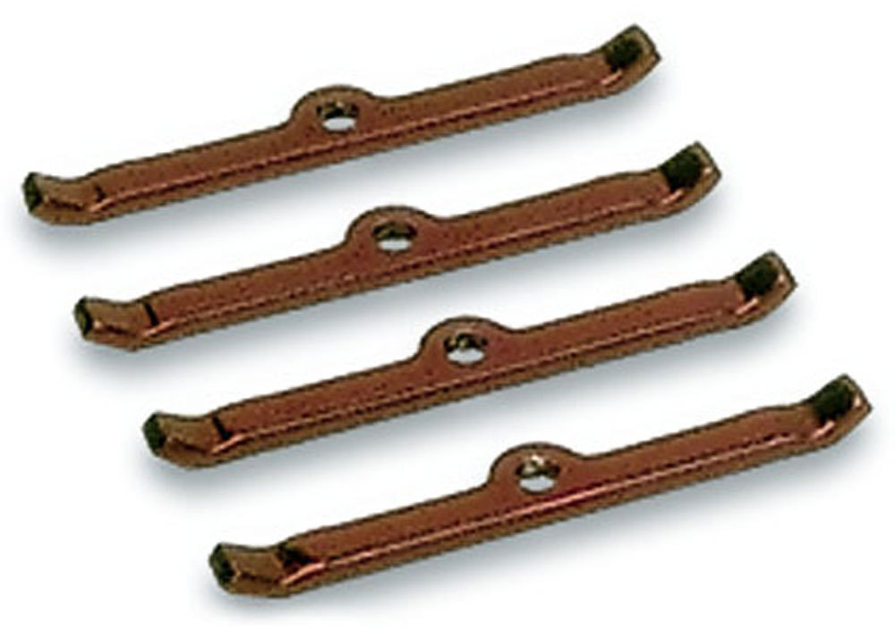 Moroso 68505 Valve Cover Hold Down Tabs, Steel, Red Powder Coat, Small Block Chevy / V6, Set of 4